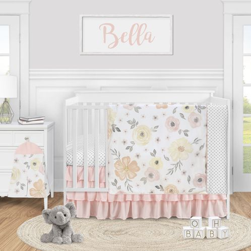 Yellow and Pink Watercolor Floral Baby Girl Nursery Crib Bedding Set by Sweet Jojo Designs - 4 pieces - Blush Peach Orange Cream Grey and White Shabby Chic Rose Flower Farmhouse Polka Dot - Click to enlarge
