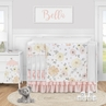 Yellow and Pink Watercolor Floral Baby Girl Nursery Crib Bedding Set by Sweet Jojo Designs - 5 pieces - Blush Peach Orange Cream Grey and White Shabby Chic Rose Flower Farmhouse Polka Dot