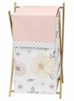 Yellow and Pink Watercolor Floral Baby Kid Clothes Laundry Hamper by Sweet Jojo Designs - Blush Peach Orange Cream Grey and White Shabby Chic Rose Flower Farmhouse Polka Dot