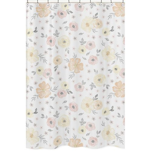 Yellow and Pink Watercolor Floral Bathroom Fabric Bath Shower Curtain by Sweet Jojo Designs - Blush Peach Orange Cream Grey and White Shabby Chic Rose Flower Farmhouse - Click to enlarge
