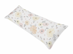 Yellow and Pink Watercolor Floral Body Pillow Case Cover by Sweet Jojo Designs (Pillow Not Included) - Blush Peach Orange Cream Grey and White Shabby Chic Rose Flower Farmhouse Polka Dot
