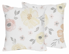Yellow and Pink Watercolor Floral Decorative Accent Throw Pillows by Sweet Jojo Designs - Set of 2 - Blush Peach Orange Cream Grey and White Shabby Chic Rose Flower Farmhouse