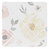 Yellow and Pink Watercolor Floral Fabric Memory Memo Photo Bulletin Board by Sweet Jojo Designs - Blush Peach Orange Cream Grey and White Shabby Chic Rose Flower Farmhouse