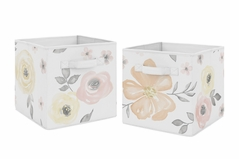 Yellow and Pink Watercolor Floral Foldable Fabric Storage Cube Bins Boxes Organizer Toys Kids Baby Childrens by Sweet Jojo Designs - Set of 2 - Blush Peach Orange Cream Grey and White Shabby Chic Rose Flower Farmhouse