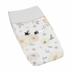Yellow and Pink Watercolor Floral Girl Baby Nursery Changing Pad Cover by Sweet Jojo Designs - Blush Peach Orange Cream Grey and White Shabby Chic Rose Flower Farmhouse Polka Dot