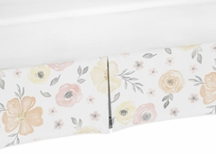 Yellow and Pink Watercolor Floral Girl Baby Nursery Crib Bed Skirt Dust Ruffle by Sweet Jojo Designs - Blush Peach Orange Cream Grey and White Shabby Chic Rose Flower Farmhouse