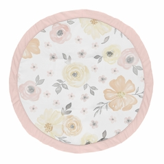 Yellow and Pink Watercolor Floral Girl Baby Playmat Tummy Time Infant Play Mat by Sweet Jojo Designs - Blush Peach Orange Cream Grey and White Shabby Chic Rose Flower Farmhouse