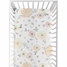 Yellow and Pink Watercolor Floral Girl Fitted Crib Sheet Baby or Toddler Bed Nursery by Sweet Jojo Designs - Blush Peach Orange Cream Grey and White Shabby Chic Rose Flower Farmhouse