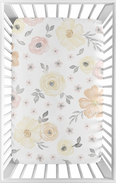 Yellow and Pink Watercolor Floral Girl Fitted Mini Crib Sheet Baby Nursery by Sweet Jojo Designs For Portable Crib or Pack and Play - Blush Peach Orange Cream Grey and White Shabby Chic Rose Flower Farmhouse