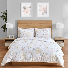 Yellow and Pink Watercolor Floral Girl Full / Queen Bedding Comforter Set Kids Childrens Size by Sweet Jojo Designs - 3 pieces - Blush Peach Orange Cream Grey and White Shabby Chic Rose Flower Farmhouse