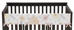Yellow and Pink Watercolor Floral Girl Long Front Crib Rail Guard Baby Teething Cover Protector Wrap by Sweet Jojo Designs - Blush Peach Orange Cream Grey and White Shabby Chic Rose Flower Farmhouse Polka Dot
