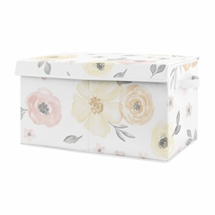 Yellow and Pink Watercolor Floral Girl Small Fabric Toy Bin Storage Box Chest For Baby Nursery or Kids Room by Sweet Jojo Designs - Blush Peach Orange Cream Grey and White Shabby Chic Rose Flower Farmhouse