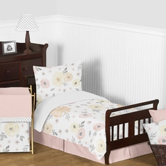 Yellow and Pink Watercolor Floral Girl Toddler Kid Childrens Comforter Bedding Set by Sweet Jojo Designs - 5 pieces Comforter, Sham and Sheets - Blush Peach Orange Cream Grey and White Shabby Chic Rose Flower Farmhouse Polka Dot