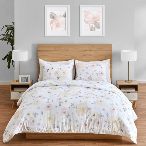 Yellow and Pink Watercolor Floral Girl Twin Bedding Comforter Set Kids Childrens Size by Sweet Jojo Designs - 4 pieces - Blush Peach Orange Cream Grey and White Shabby Chic Rose Flower Farmhouse - Click to enlarge