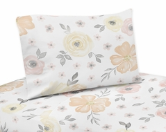 Yellow and Pink Watercolor Floral Queen Sheet Set by Sweet Jojo Designs - 4 piece set - Blush Peach Orange Cream Grey and White Shabby Chic Rose Flower Farmhouse