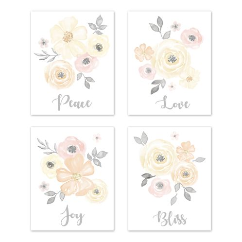Yellow and Pink Watercolor Floral Wall Art Prints Room Decor for Baby, Nursery, and Kids by Sweet Jojo Designs - Set of 4 - Blush Peach Orange Cream Grey and White Shabby Chic Rose Flower Farmhouse - Click to enlarge