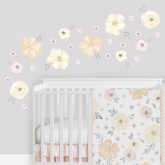 Yellow and Pink Watercolor Floral Wall Decal Large Peel and Stick Stickers Art Nursery Decor Mural by Sweet Jojo Designs - Set of 4 Sheets - Blush Peach Orange Cream Grey and White Shabby Chic Rose Flower Farmhouse