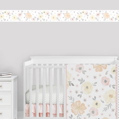 Yellow and Pink Watercolor Floral Wallpaper Wall Border by Sweet Jojo Designs - Blush Peach Orange Cream Grey and White Shabby Chic Rose Flower Farmhouse