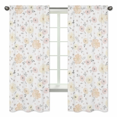 Yellow and Pink Watercolor Floral Window Treatment Panels Curtains by Sweet Jojo Designs - Set of 2 - Blush Peach Orange Cream Grey and White Shabby Chic Rose Flower Farmhouse