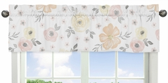 Yellow and Pink Watercolor Floral Window Treatment Valance by Sweet Jojo Designs - Blush Peach Orange Cream Grey and White Shabby Chic Rose Flower Farmhouse