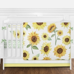 Yellow, Green and White Sunflower Boho Floral Baby Girl Nursery Crib Bedding Set with Bumper by Sweet Jojo Designs - 9 pieces - Farmhouse Watercolor Flower