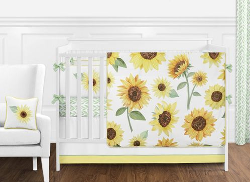 Yellow, Green and White Sunflower Boho Floral Baby Girl Nursery Crib Bedding Set with Bumper by Sweet Jojo Designs - 9 pieces - Farmhouse Watercolor Flower - Click to enlarge