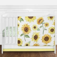 Yellow, Green and White Sunflower Boho Floral Baby Girl Nursery Crib Bedding Set without Bumper by Sweet Jojo Designs - 11 pieces - Farmhouse Watercolor Flower