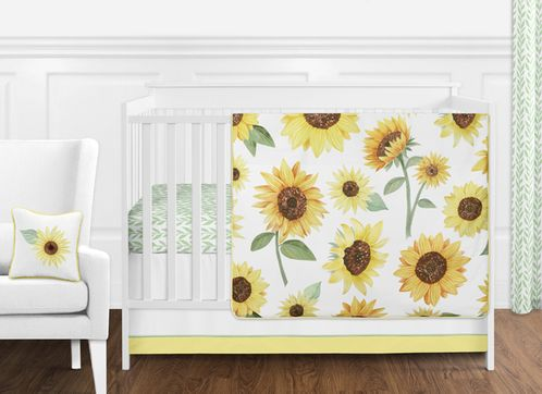 Yellow, Green and White Sunflower Boho Floral Baby Girl Nursery Crib Bedding Set without Bumper by Sweet Jojo Designs - 11 pieces - Farmhouse Watercolor Flower - Click to enlarge
