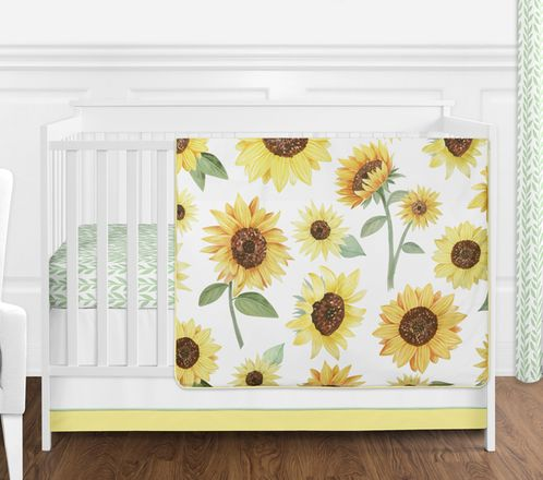 Yellow, Green and White Sunflower Boho Floral Baby Girl Nursery Crib Bedding Set without Bumper by Sweet Jojo Designs - 4 pieces - Farmhouse Watercolor Flower - Click to enlarge