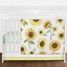 Yellow, Green and White Sunflower Boho Floral Baby Girl Nursery Crib Bedding Set without Bumper by Sweet Jojo Designs - 4 pieces - Farmhouse Watercolor Flower