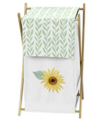 Yellow, Green and White Sunflower Boho Floral Baby Kid Clothes Laundry Hamper by Sweet Jojo Designs - Farmhouse Watercolor Flower