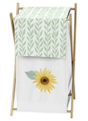 Yellow, Green and White Sunflower Boho Floral Baby Kid Clothes Laundry Hamper by Sweet Jojo Designs - Farmhouse Watercolor Flower - Click to enlarge