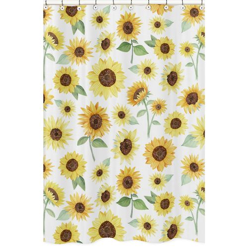 Yellow, Green and White Sunflower Boho Floral Bathroom Fabric Bath Shower Curtain by Sweet Jojo Designs - Farmhouse Watercolor Flower - Click to enlarge