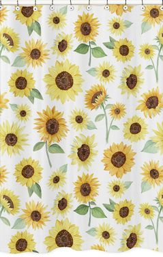 Yellow, Green and White Sunflower Boho Floral Bathroom Fabric Bath Shower Curtain by Sweet Jojo Designs - Farmhouse Watercolor Flower