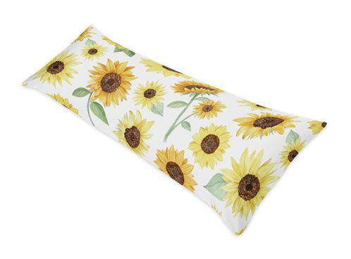 Yellow, Green and White Sunflower Boho Floral Body Pillow Case Cover by Sweet Jojo Designs (Pillow Not Included) - Farmhouse Watercolor Flower - Click to enlarge