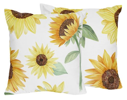 Yellow, Green and White Sunflower Boho Floral Decorative Accent Throw Pillows by Sweet Jojo Designs - Set of 2 - Farmhouse Watercolor Flower - Click to enlarge