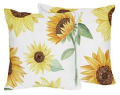 Yellow, Green and White Sunflower Boho Floral Decorative Accent Throw Pillows by Sweet Jojo Designs - Set of 2 - Farmhouse Watercolor Flower