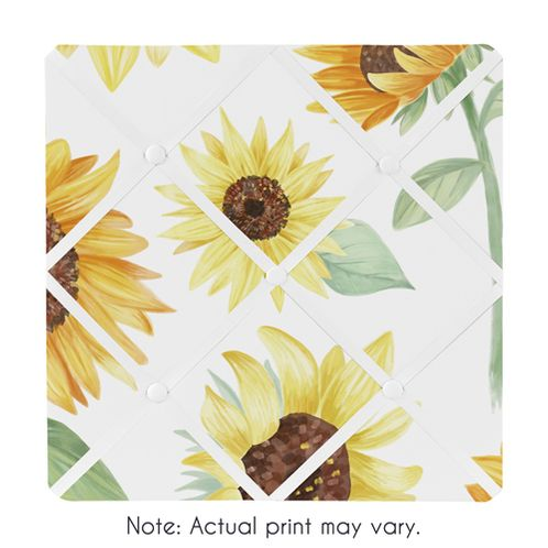 Yellow, Green and White Sunflower Boho Floral Fabric Memory Memo Photo Bulletin Board by Sweet Jojo Designs - Farmhouse Watercolor Flower - Click to enlarge