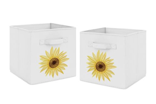 Yellow, Green and White Sunflower Boho Floral Foldable Fabric Storage Cube Bins Boxes Organizer Toys Kids Baby Childrens by Sweet Jojo Designs - Set of 2 - Farmhouse Watercolor Flower - Click to enlarge
