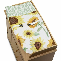 Yellow, Green and White Sunflower Boho Floral Girl Baby Nursery Changing Pad Cover by Sweet Jojo Designs - Farmhouse Watercolor Flower