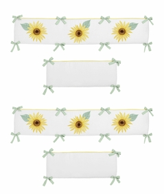 Yellow, Green and White Sunflower Boho Floral Girl Baby Nursery Crib Bumper Pad by Sweet Jojo Designs - Farmhouse Watercolor Flower
