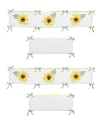 Yellow, Green and White Sunflower Boho Floral Girl Baby Nursery Crib Bumper Pad by Sweet Jojo Designs - Farmhouse Watercolor Flower - Click to enlarge