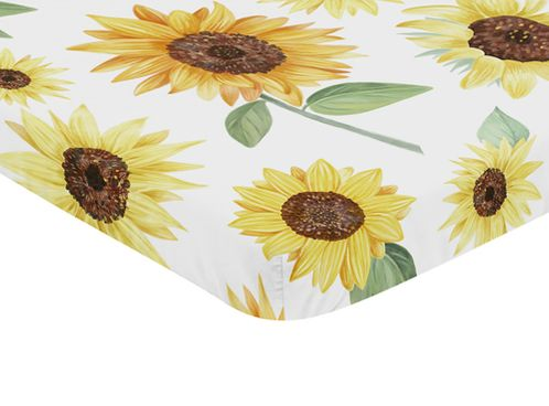 Yellow, Green and White Sunflower Boho Floral Girl Baby Nursery Fitted Mini Portable Crib Sheet by Sweet Jojo Designs For Mini Crib or Pack and Play ONLY - Farmhouse Watercolor Flower - Click to enlarge