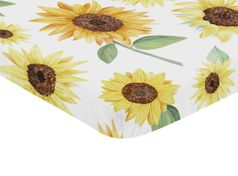 Yellow, Green and White Sunflower Boho Floral Girl Baby Nursery Fitted Mini Portable Crib Sheet by Sweet Jojo Designs For Mini Crib or Pack and Play ONLY - Farmhouse Watercolor Flower