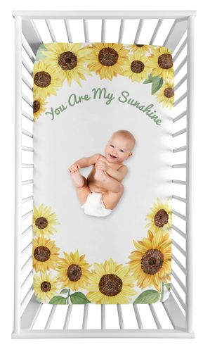 Yellow, Green and White Sunflower Boho Floral Girl Baby Nursery Fitted Mini Portable Crib Sheet by Sweet Jojo Designs For Mini Crib or Pack and Play ONLY - Farmhouse Watercolor Flower, You Are My Sunshine - Click to enlarge