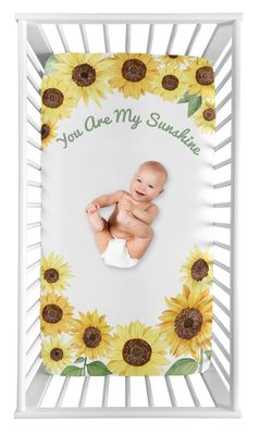 Yellow, Green and White Sunflower Boho Floral Girl Baby Nursery Fitted Mini Portable Crib Sheet by Sweet Jojo Designs For Mini Crib or Pack and Play ONLY - Farmhouse Watercolor Flower, You Are My Sunshine