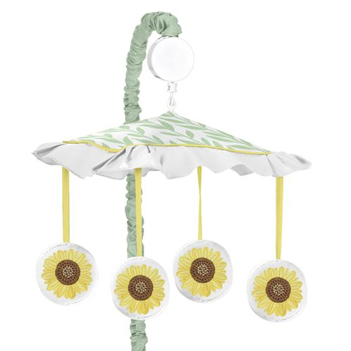 Yellow, Green and White Sunflower Boho Floral Girl Baby Nursery Musical Crib Mobile by Sweet Jojo Designs - Farmhouse Watercolor Flower - Click to enlarge