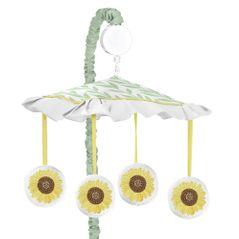 Yellow, Green and White Sunflower Boho Floral Girl Baby Nursery Musical Crib Mobile by Sweet Jojo Designs - Farmhouse Watercolor Flower