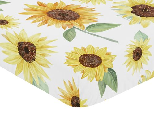 Yellow, Green and White Sunflower Boho Floral Girl Baby or Toddler Nursery Fitted Crib Sheet by Sweet Jojo Designs - Farmhouse Watercolor Flower - Click to enlarge