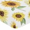 Yellow, Green and White Sunflower Boho Floral Girl Baby or Toddler Nursery Fitted Crib Sheet by Sweet Jojo Designs - Farmhouse Watercolor Flower